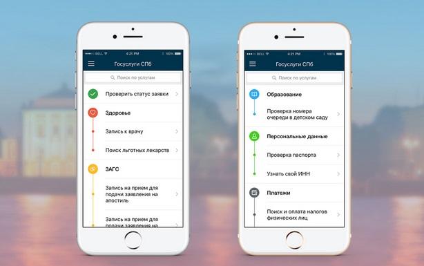 Категории услуг мобильного приложения